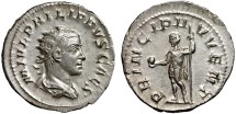 Ancient Coins - Philip II as Caesar AR antoninianus – Prince with globe and spear – EF, good metal