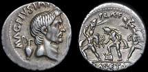 Ancient Coins - Sextus Pompey AR denarius – Pompey the Great/Neptune; Anapias and Amphinomus carrying parents