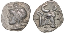 Ancient Coins - Mysia. Kyzikos: AR hemiobol – Attis/Bull – Very well-preserved for type