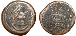 Ancient Coins - Iberia. Ulia: AE As – Female head/Legend in cartouche