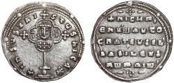 Ancient Coins - Nicephorus II Phocas AR miliaresion – Medallion in cross crosslet/Legend – EF