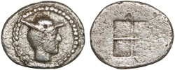 Ancient Coins - Thraco-Macedonian Region, Uncertain mint: AR hemiobol – Hermes/Quadripartite square