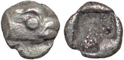 Ancient Coins - Ionia. Phokaia: AR tetartemorion – Head of seal/Incuse square – Excellent example of this tiny type