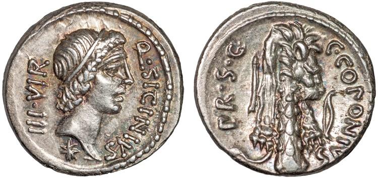 Ancient Coins - Q. Sicinius and C. Coponius AR denarius – Apollo/Lion skin over club; arrow; bow – EF; lustrous; attractive toning