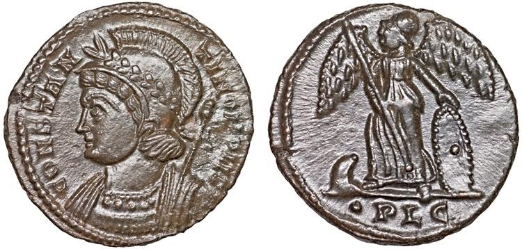 Ancient Coins - Constantinopolis commemorative AE follis – Constantinopolis/Victory – EF