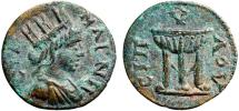 Ancient Coins - Lydia, Magnesia ad Sipylum, pseudo-autonomous issue AE15 – Tyche/Tripod