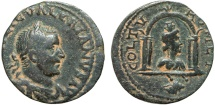 Ancient Coins - Valerian I AE28; Tyre Phoenicia – Astarte in alcove