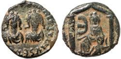 Ancient Coins - Justin I and Justinian I AE pentanummium – Tyche of Antioch in shrine – Rare; last image of a classical deity to appear on an ancient coin