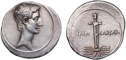 Ancient Coins - Octavian AR denarius – Boundary-stone of Jupiter Terminus – EF; pleasant toning