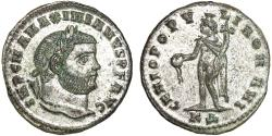 Ancient Coins - Maximianus Herculius AE follis – Genius – EF; near full silvering
