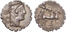 L. Procilius f. AR denarius serratus – Juno Sospita/Juno Sospita in biga