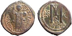 Ancient Coins - Justinian I AE follis – Emperor enthroned/Large M