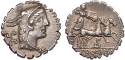 Ancient Coins - L. Procilius f. AR denarius serratus – Juno Sospita/Juno Sospita in biga