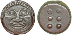 Ancient Coins - Sicily. Himera AE hemilitron – Gorgoneion/Six pellets – Exceptional example of type