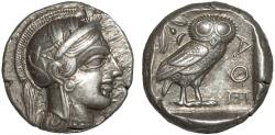 Ancient Coins - Attica. Athens: AR tetradrachm – Athena/Owl – Well-centered on extremely large flan for die