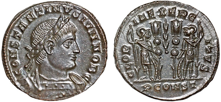 Ancient Coins - Constantine II as Caesar AE3 – Two soldiers – EF