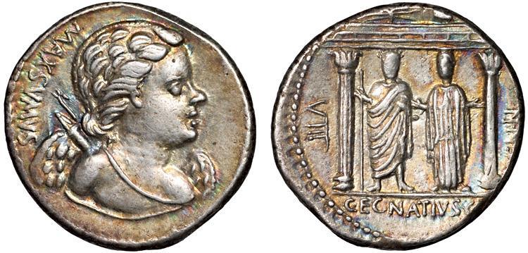 Ancient Coins - Cn. Egnatius Cn.f. Cn.n. Maxsumus AR denarius – Cupid/Jupiter and Libertas – Attractive toning