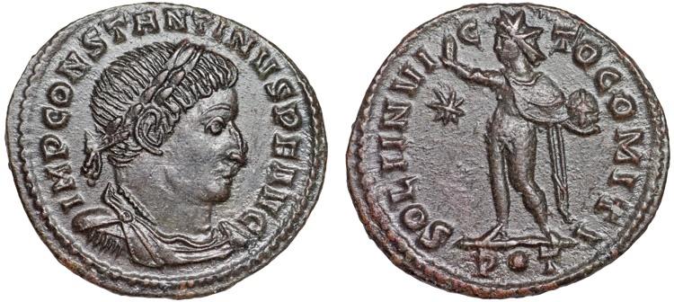 Ancient Coins - Constantine I AE follis – Sol – EF