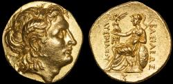 Ancient Coins - Thracian Kingdom: Lysimachos AV stater – EF; rare; excellent style; high relief