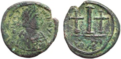Ancient Coins - Justinian I AE decanummium – Large I and two crosses – Rare; struck at Constantine in Numidia