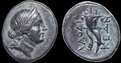 Ancient Coins - Phrygia. Laodikeia: AE tetrachalkon – Female/Double cornucopiae – Attractive dark patina