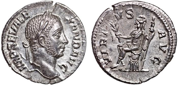 Ancient Coins - Severus Alexander AR denarius – Virtus – gEF