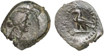 Ancient Coins - Ptolemaic Kingdom of Egypt: Ptolemy IV Philopator (?) AE14 – Female head/Eagle