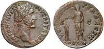 Ancient Coins - Antoninus Pius AE sestertius – Emperor sacrificing – EF, attractive uniform dark brown patina (poorly shown by photo)