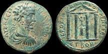 Ancient Coins - Septimius Severus AE30. Komana. Pontos – Nike statue in tetrastyle temple