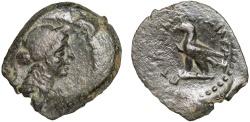 Ancient Coins - Ptolemaic Kingdom of Egypt: Ptolemy IV Philopator (?) AE14 – Female head/Eagle