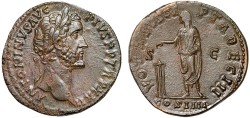 Ancient Coins - Antoninus Pius AE sestertius – Emperor sacrificing – EF; patina more attractive and uniform than photo show