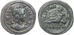 Ancient Coins - Lydia. Saitta: AE diassarion – pseudo-autonomous issue – Mên/River god
