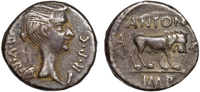 Ancient Coins - Mark Antony with M. Aemilius Lepidus AR quinarius – Fulvia (wife of M. Antony) as Victory/Lion – Scarce