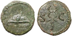 Ancient Coins - Anonymous AE quadrans – Winged petasos/Caduceus