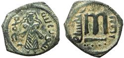 Ancient Coins - Arab-Byzantine Anonymous Umayyad AE fals – Standing Caliph/Large M – Very unusually well-struck and well-preserved example of this type