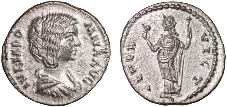 Ancient Coins - Julia Domna AR denarius – Venus – EF, rare, Emesa mint