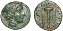 Ancient Coins - Macedon. Olynthos. Chalkidean League. Æ13 – Apollo/Tripod