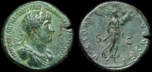 Ancient Coins - Hadrian AE sestertius – Victory – Attractive patina and portrait
