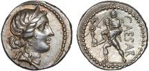 Julius Caesar AR denarius – Venus/Aeneas – Beautiful toning