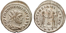 Ancient Coins - Maximianus I Herculius billon antoninianus – Jupiter and emperor – EF; well-silvered