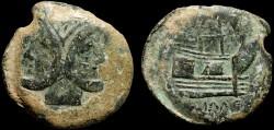 Ancient Coins - Cnaeus Pompey Jr. AE As – Janus/Galley
