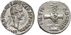 Ancient Coins - Nerva AR denarius – Clasped hands, standard, prow – EF
