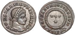 Ancient Coins - Constantine II as Caesar AE follis – Wreath and votive – EF