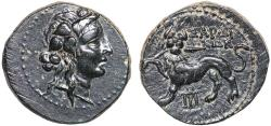 Ancient Coins - Lydia. Sardes: AE18 – Dionysos/Horned panther breaking spear