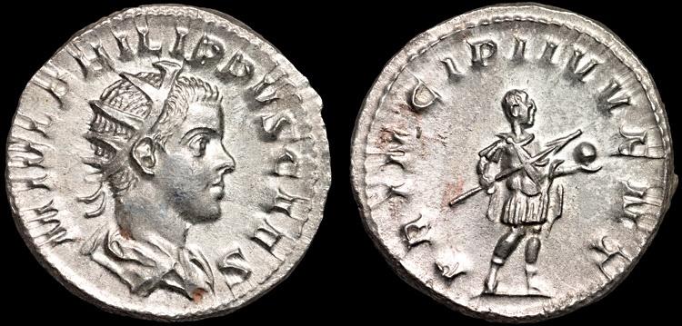 Ancient Coins - Philip II as Caesar AR antoninianus – Prince in military attire – EF