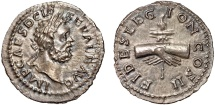 Ancient Coins - Clodius Albinus AR denarius – Clasped hands holding aquila – Well-centered on a wide flan