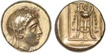 Ancient Coins - Lesbos. Mytilene: EL hekte – Demeter/Tripod – Superior style; well-framed portrait