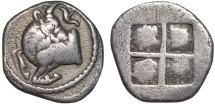 Ancient Coins - Macedon, Akanthus: AR tetrobol – Bull/Quadripartite square