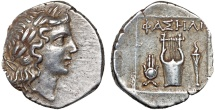 Ancient Coins - Lycia. Phaselis as a member of the Lycian League: AR drachm – Apollo/Kithara; Isis crown; torch