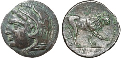Ancient Coins - Zeugitania. Libyan Revolt: arsenic/copper/tin alloy shekel – Herakles/Lion